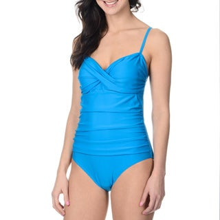 Alicia Simone Women's Solid Blue Ruched One-piece Swimsuit