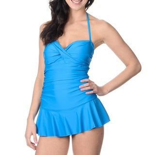 Alicia Simone Women's Solid Turquoise Bandeau Swim Dress