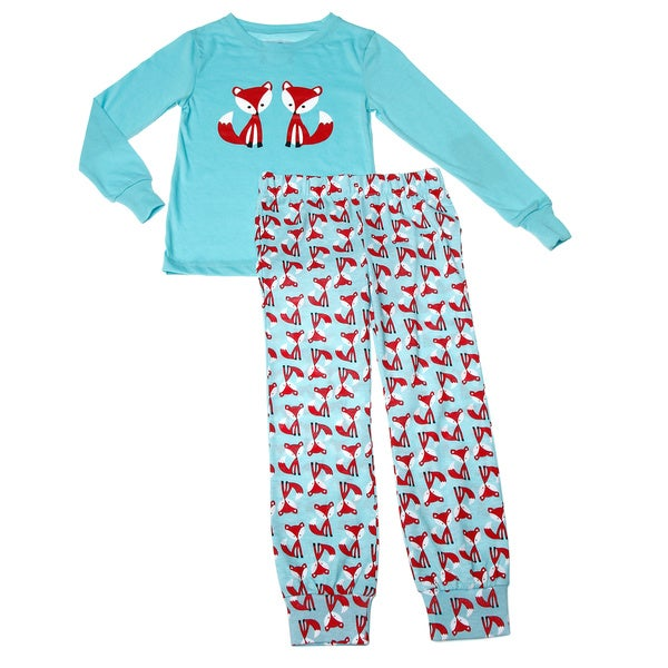 Girls Blue Fox and Friends Printed Long Sleeve Pajama Set