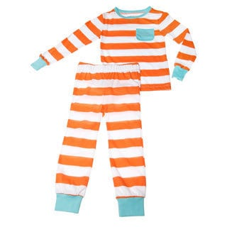 Girls Orange and Blue Stripe Printed Pajama Set