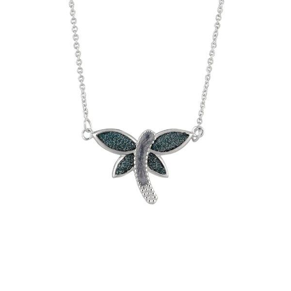 Brass Rhodium-plated Blue Glitter Dragonfly Necklace