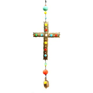 Handmade Cross of Colors Wind Chime (India)