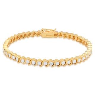 Finesque Gold Overlay Diamond Accent Tennis Bracelet (I-J, I2-I3)