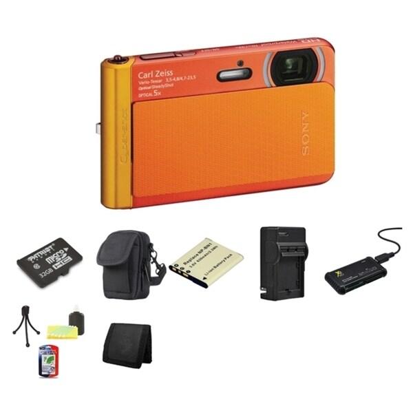 Sony Cyber Shot DSC-TX30 Waterproof Orange Digital Camera 32GB Bundle