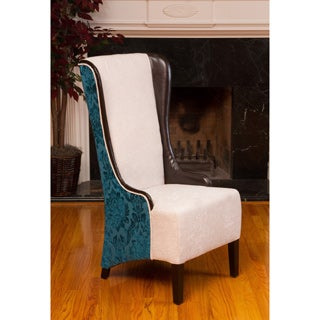 Bacall High-Back Ivory and Teal Fabric Chair