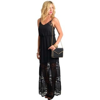 Feellib Women's Black Sheer Lace-overlay Maxi Dress