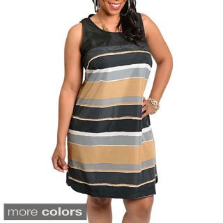Shop The Trends Women's Plus Striped Shift Dress
