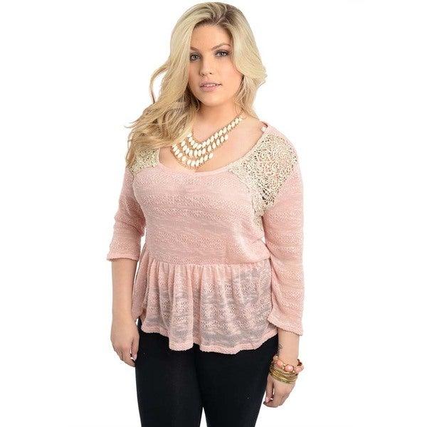 Shop The Trends Women's Plus Size Pink Burnout Peplum Top