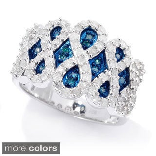 Sterling Silver 3/4ct TDW Colored and White Diamond Ring (H-I, I2-I3)