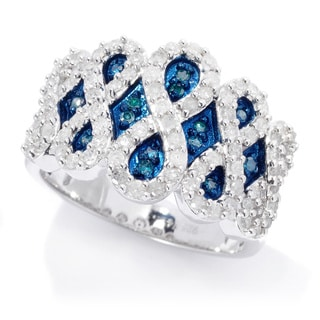 Sterling Silver 3/4ct TDW Blue and White Diamond Ring (H-I, I2-I3)
