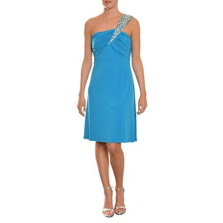 Calvin Klein Fresh Turquoise One-shoulder Rhinestone Cocktail Party Evening Dress