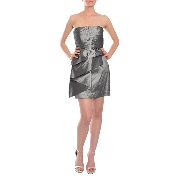 Calvin Klein Chic Grey Strapless Cocktail Party Mini Dress