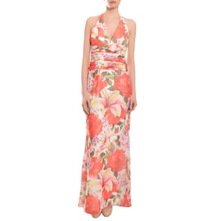 Escada Floral Halter Lace-Up Back Evening Gown Dress