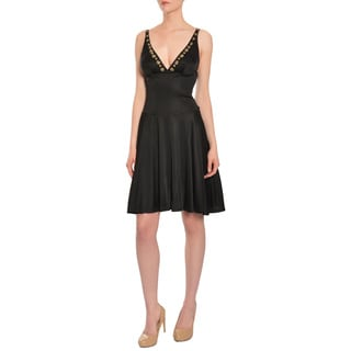 Blumarine Women's Sleek Black Beaded Cocktail Evening Dress