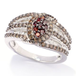 Sterling Silver 1ct TDW Red and Champagne Diamond Ring (H-I, I2-I3)