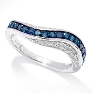 Sterling Silver 3/4ct TDW Blue and White Diamond Wave Band Ring (H1, I2-I3)
