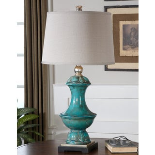 Lynden Aged Blue Ceramic Resin/ Goldtone Metal and Fabric Table Lamp