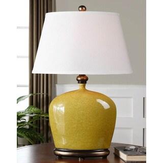 Geraldine Burnt Yellow Resin/ Porcelain Table Lamp