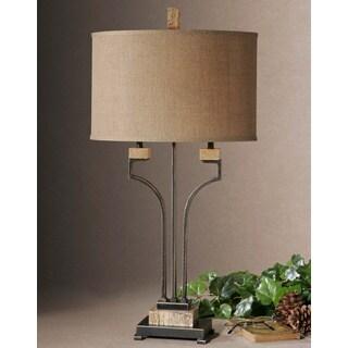 Larimer Rustic Bronze Marbled Metal and Burlap Table Lamp
