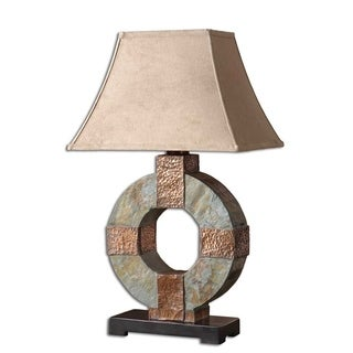Hand-carved Slate and Hammered Copper Table Lamp