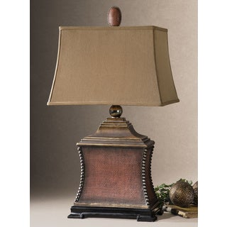 Pavia Aged Red Poly and Silvertone Beaded Table Lamp