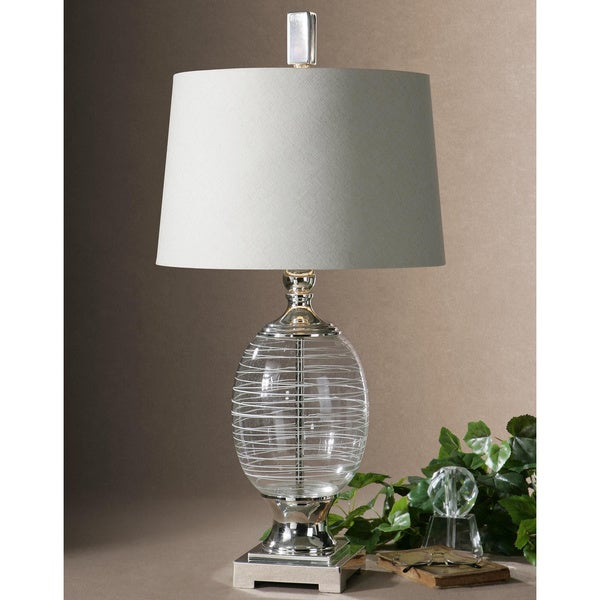 Uttermost Pateros Clear Glass Swirl and Metal Table Lamp