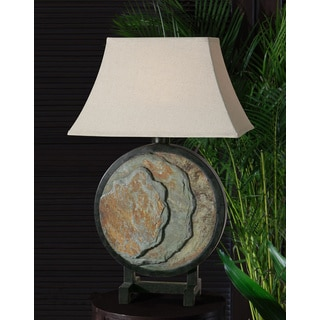 Slate Round Resin Fabric Table Lamp