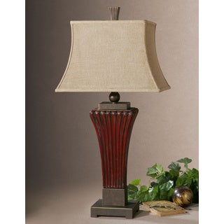 Uttermost Rosso Dark Red Ribbed Table Lamp