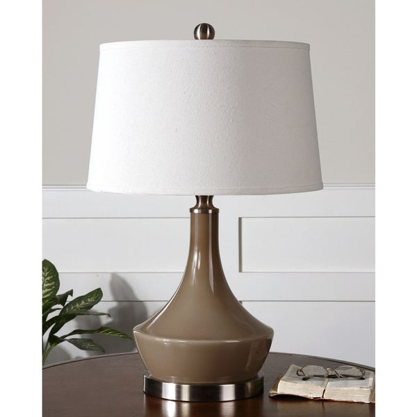 Uttermost Kerman Taupe Grey Glass Base Table Lamp