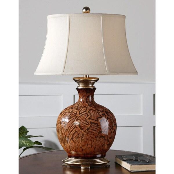 Uttermost Serpiente Rust Brown Ceramic Table Lamp