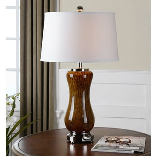 Uttermost Carapellotto Rusted Brown Metal White Fabric Table Lamp