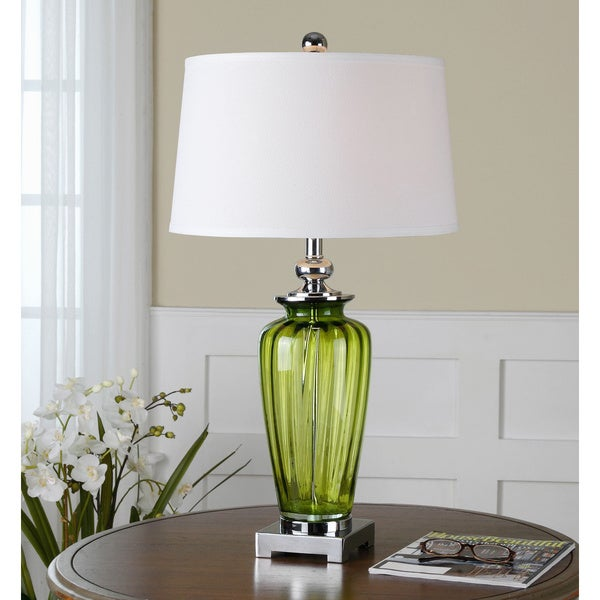 Uttermost Amedeo Green Glass Base White Shade Table Lamp