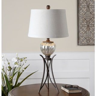 Uttermost Cebrario Antiqued Mercury Glass Ivory Fabric Table Lamp