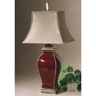 Rory Burgundy Ceramic Golden Champagne Fabric Shade Table Lamp