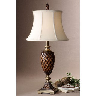 Weldon Woven Brown Ceramic Taupe Textile Table Lamp
