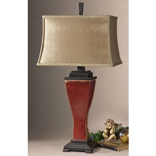 Uttermost Centralia Deep Red Glass And Ceramic Table Lamp