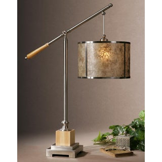 Sitka Silver Metal Mica Wood Table Lamp