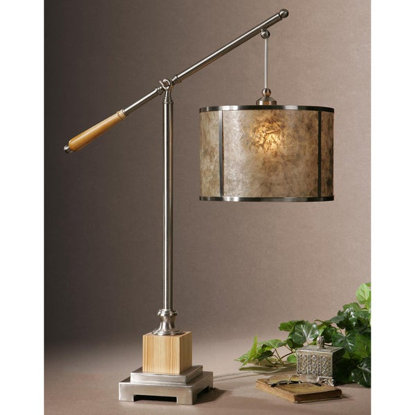 Uttermost Sitka Silver Metal Mica Wood Table Lamp