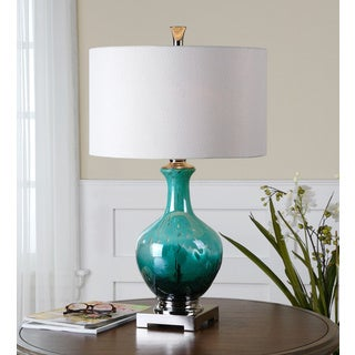 Yvonne Mottled Green Blue Glass Table Lamp