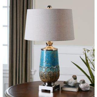 Manzu Ceramic Metallic Blue Table Lamp