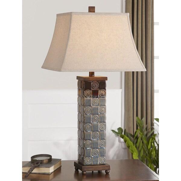 mincio dark blue ceramic poly table lamp overstock shopping. Black Bedroom Furniture Sets. Home Design Ideas
