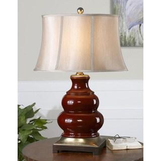 Villalago Glossy Maroon Ceramic/ Metal Table Lamp