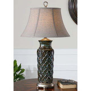 Valenza Burnished Wash Blue Glaze Table Lamp