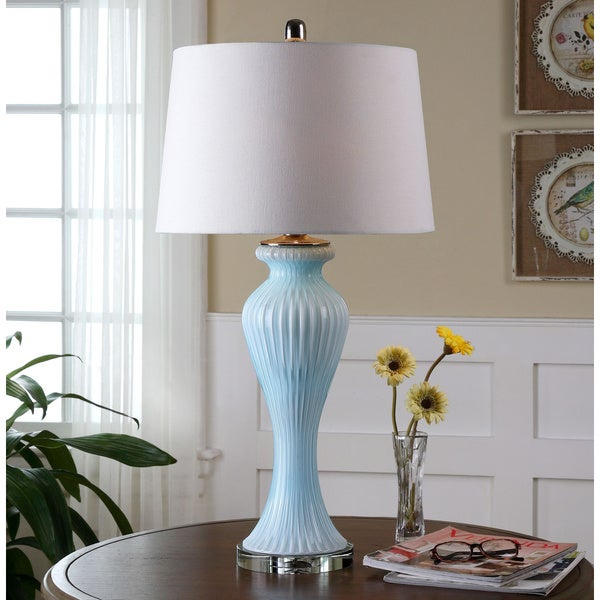 Uttermost Benissa Pale Blue Glass Lamp