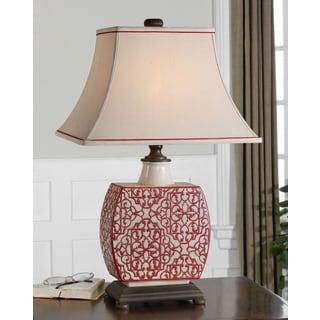 Lindsa Antiqued Ivory Red Pattern Table Lamp