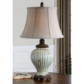 Dernice Ceramic Antique Ivory Blue Lamp