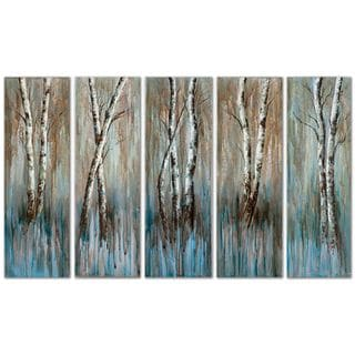 'Birch Family' 5-piece Hand-painted Canvas Art Set