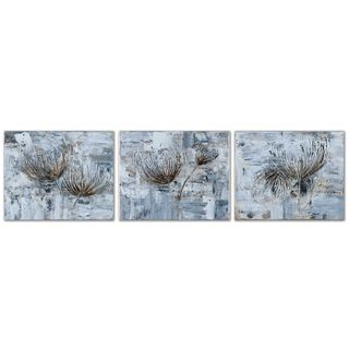 Uttermost 'Silver and Taupe Flowers' Hand-painted 3-piece Canvas Art Set