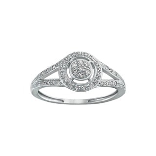 Beverly Hills Charm 10k White Gold 1/6ct TDW White Diamond Halo Ring (H-I, I2-I3)