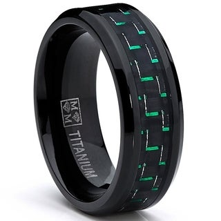 Oliveti Men's Black Titanium Black/ Green Carbon Fiber Comfort Fit Ring (8mm)